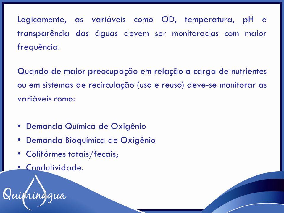 Logicamente, as variáveis como OD, temperatura, pH e transparência das águas devem ser monitoradas com maior frequência.