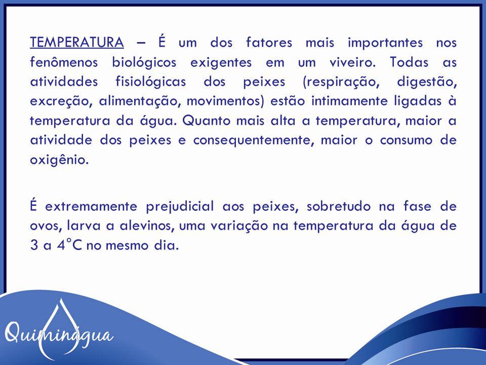 TEMPERATURA – É um dos fatores mais importantes nos fenômenos biológicos exigentes em um viveiro.