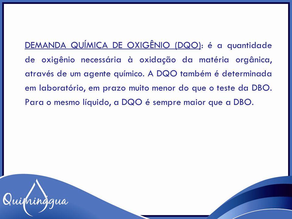 Demanda Química de Oxigênio (DQO): é a quantidade de oxigênio necessária à oxidação da matéria orgânica, através de um agente químico.