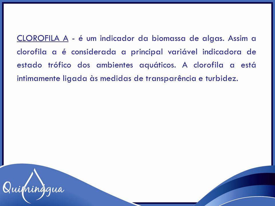 CLOROFILA A - é um indicador da biomassa de algas