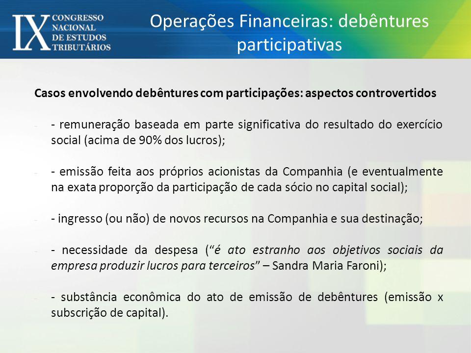 Operações Financeiras: debêntures participativas