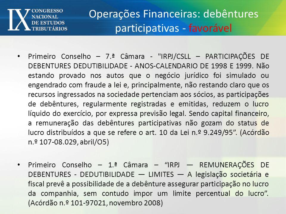 Operações Financeiras: debêntures participativas - favorável