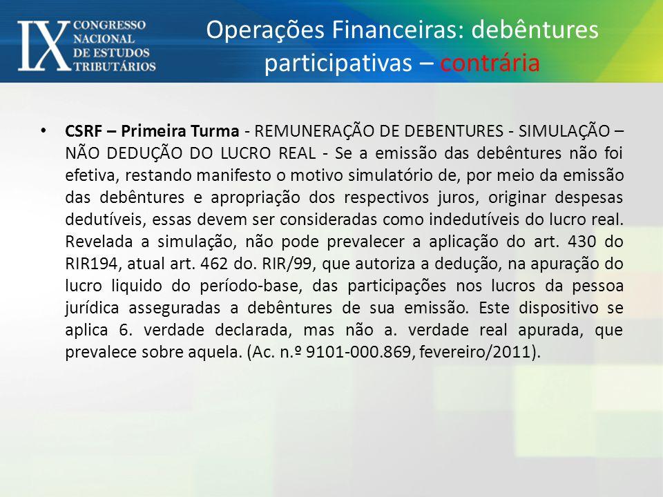 Operações Financeiras: debêntures participativas – contrária