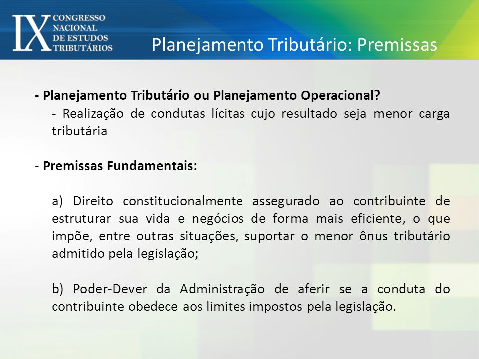 Planejamento Tributário: Premissas