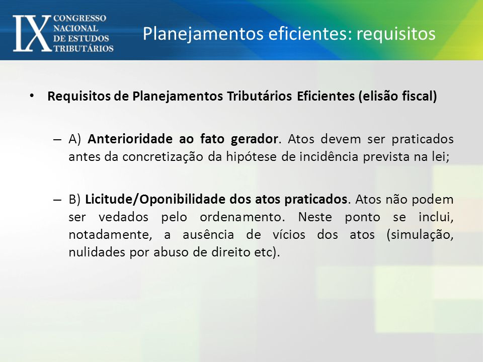 Planejamentos eficientes: requisitos