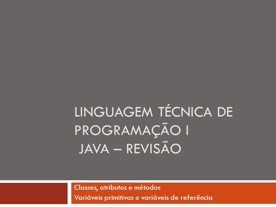 Linguagem técnica de programação I Java – REVISÃO