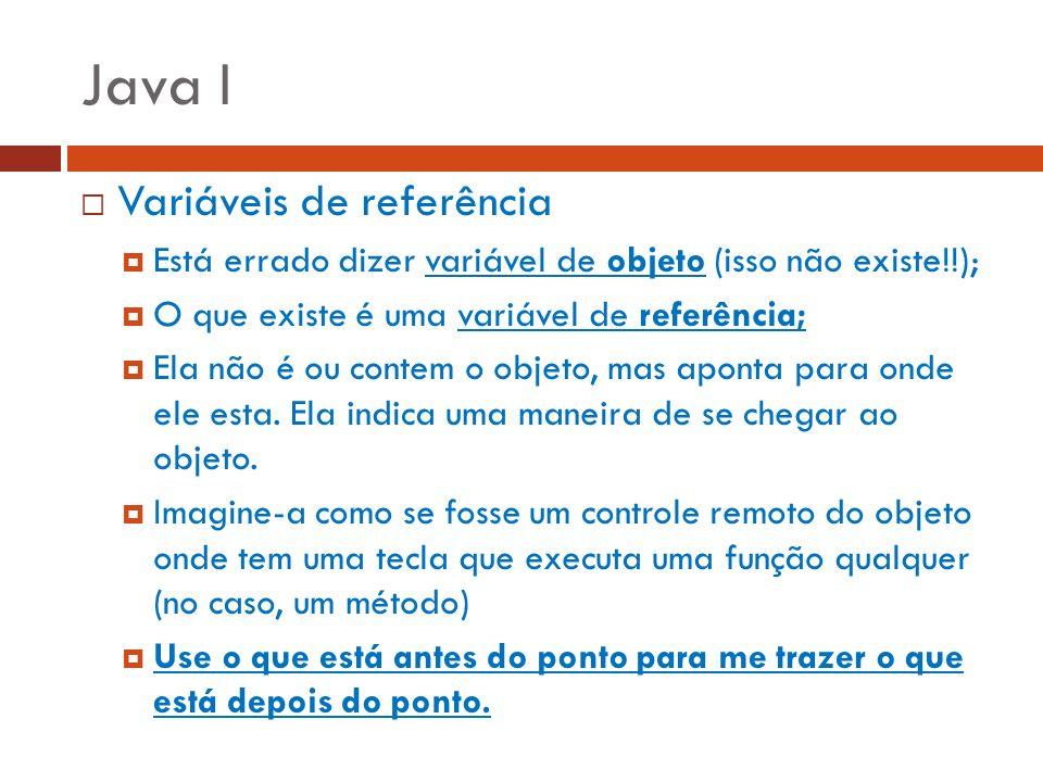 Java I Variáveis de referência