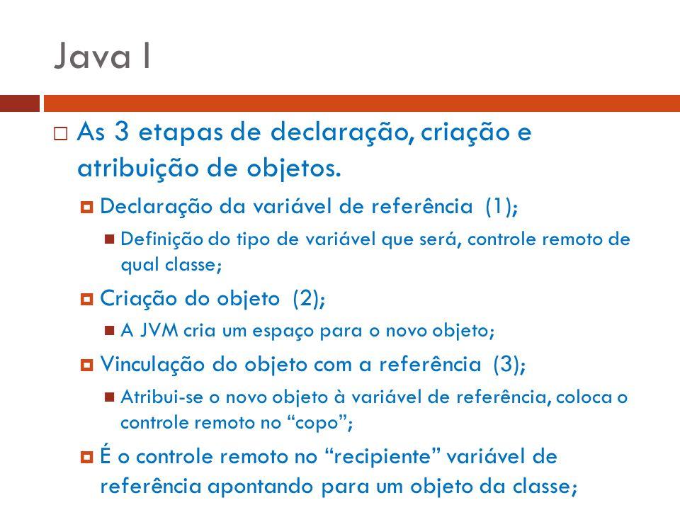 Java I As 3 etapas de declaração, criação e atribuição de objetos.