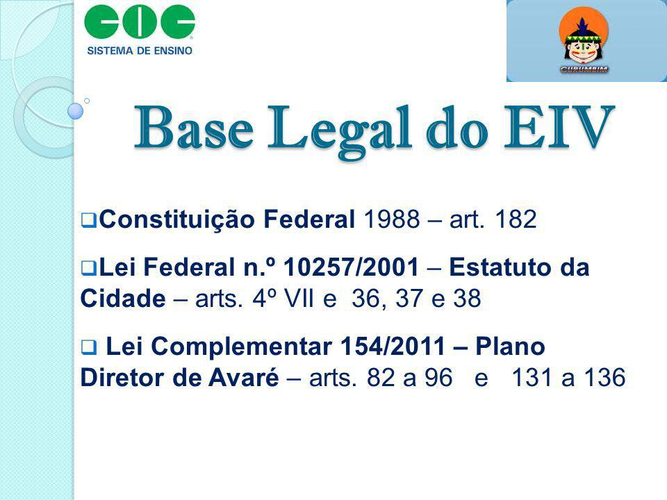 Base Legal do EIV Constituição Federal 1988 – art. 182