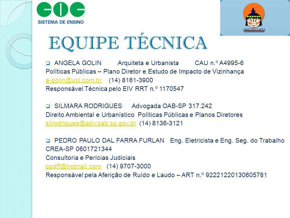 EQUIPE TÉCNICA ANGELA GOLIN Arquiteta e Urbanista CAU n.º A4995-6