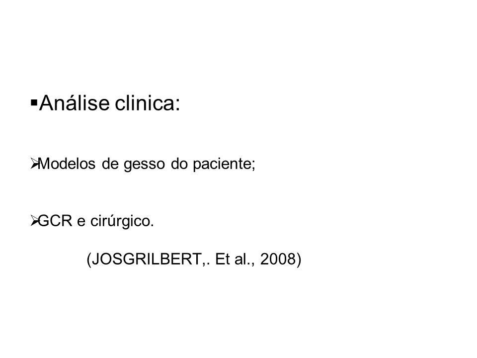 Análise clinica: Modelos de gesso do paciente; GCR e cirúrgico.