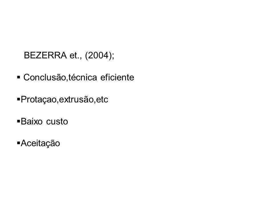 BEZERRA et., (2004); Conclusão,técnica eficiente Protaçao,extrusão,etc Baixo custo Aceitação