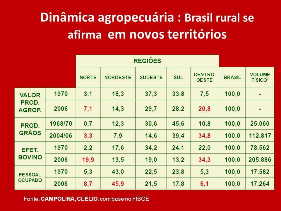 Dinâmica agropecuária : Brasil rural se afirma em novos territórios