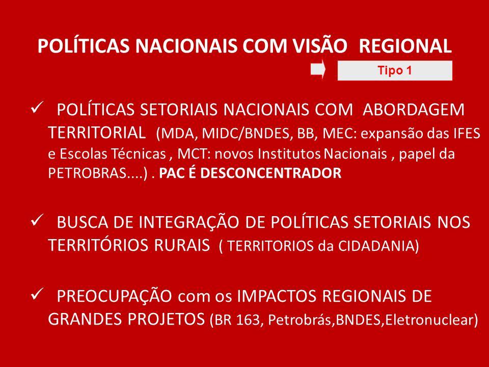 POLÍTICAS NACIONAIS COM VISÃO REGIONAL