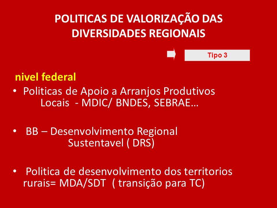POLITICAS DE VALORIZAÇÃO DAS DIVERSIDADES REGIONAIS