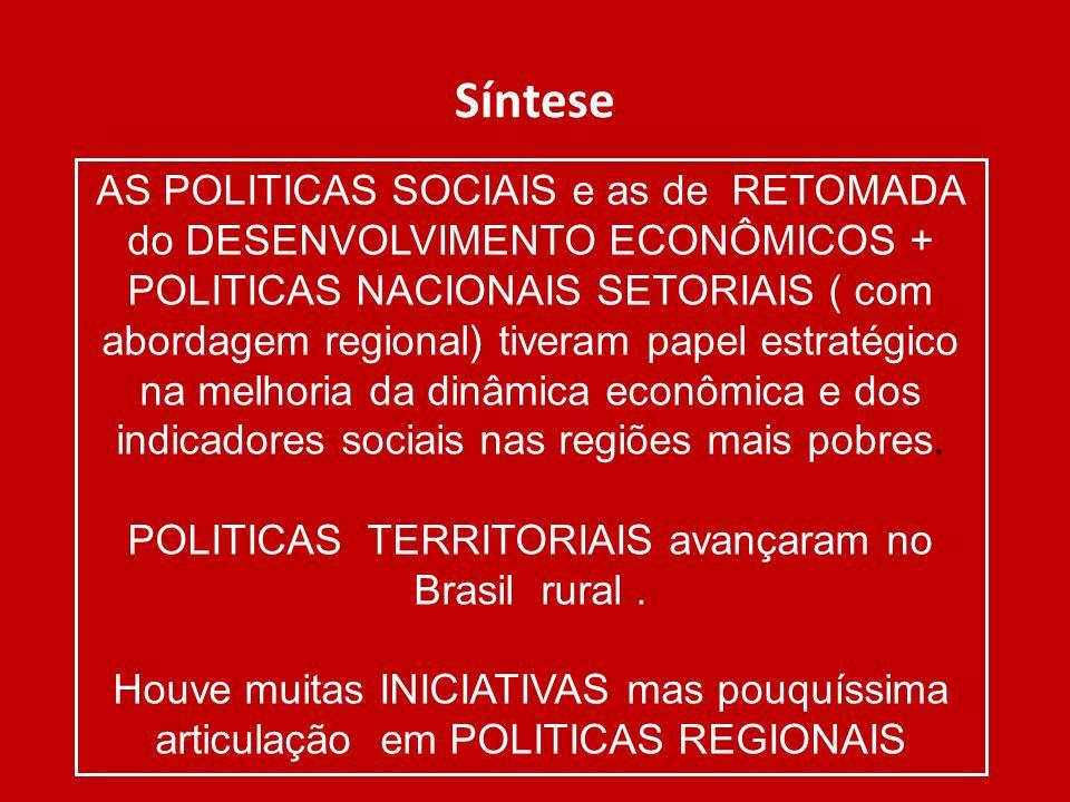 POLITICAS TERRITORIAIS avançaram no Brasil rural .