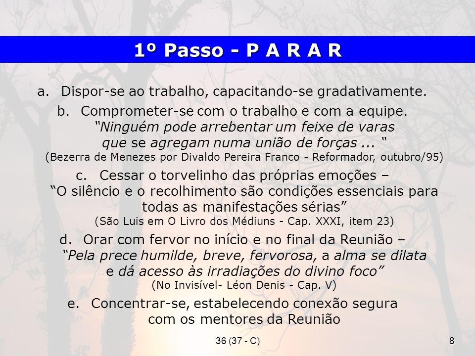1º Passo - P A R A R Dispor-se ao trabalho, capacitando-se gradativamente.