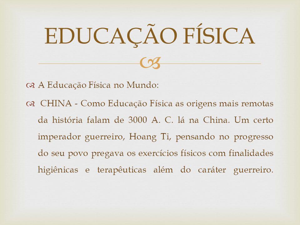 EDUCAÇÃO FÍSICA A Educação Física no Mundo: