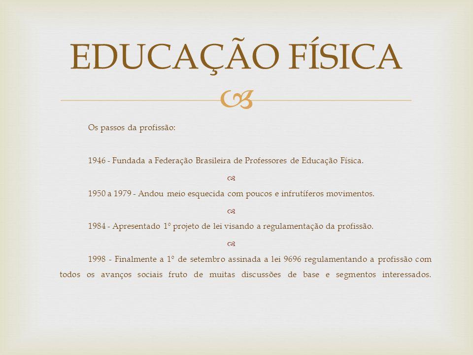 EDUCAÇÃO FÍSICA Os passos da profissão: 1946 - Fundada a Federação Brasileira de Professores de Educação Física.