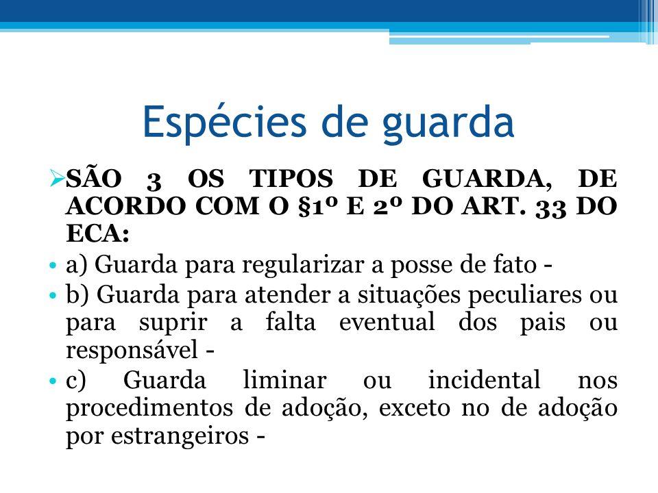 Espécies de guarda SÃO 3 OS TIPOS DE GUARDA, DE ACORDO COM O §1º E 2º DO ART. 33 DO ECA: a) Guarda para regularizar a posse de fato -