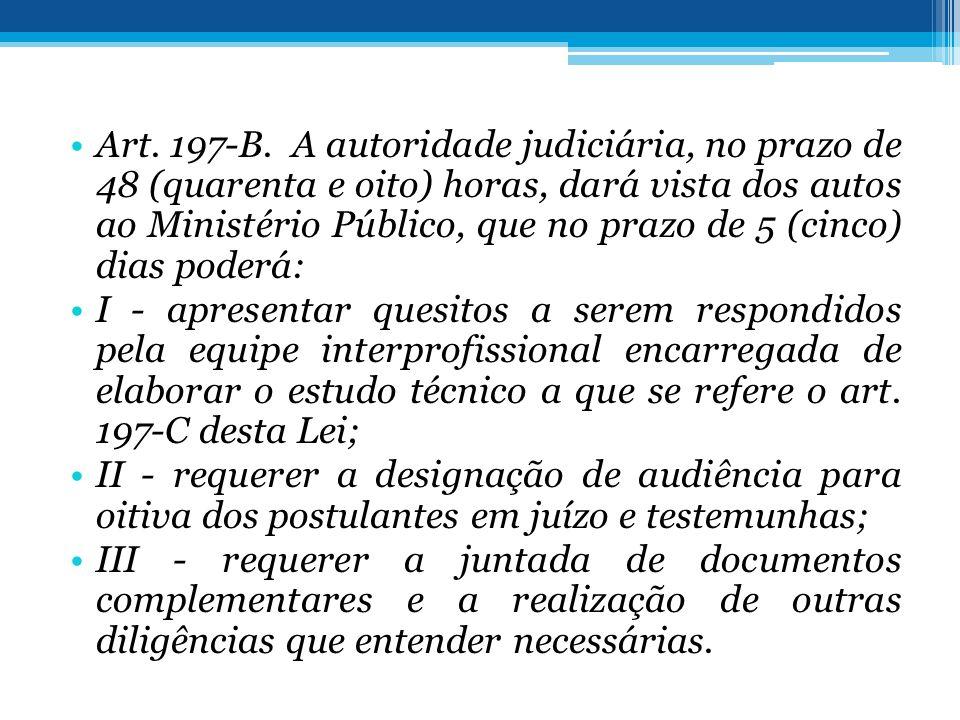 Art. 197-B. A autoridade judiciária, no prazo de 48 (quarenta e oito) horas, dará vista dos autos ao Ministério Público, que no prazo de 5 (cinco) dias poderá: