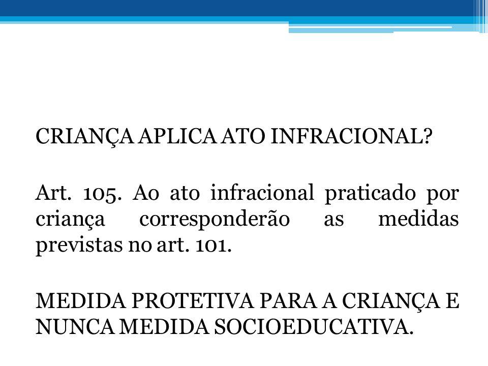 CRIANÇA APLICA ATO INFRACIONAL. Art. 105