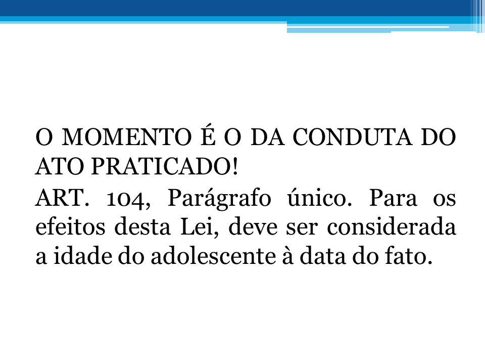 O MOMENTO É O DA CONDUTA DO ATO PRATICADO. ART. 104, Parágrafo único