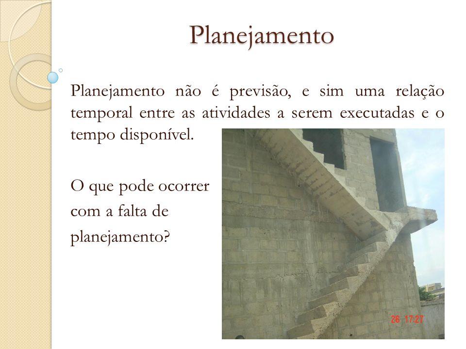 Planejamento Planejamento não é previsão, e sim uma relação temporal entre as atividades a serem executadas e o tempo disponível.