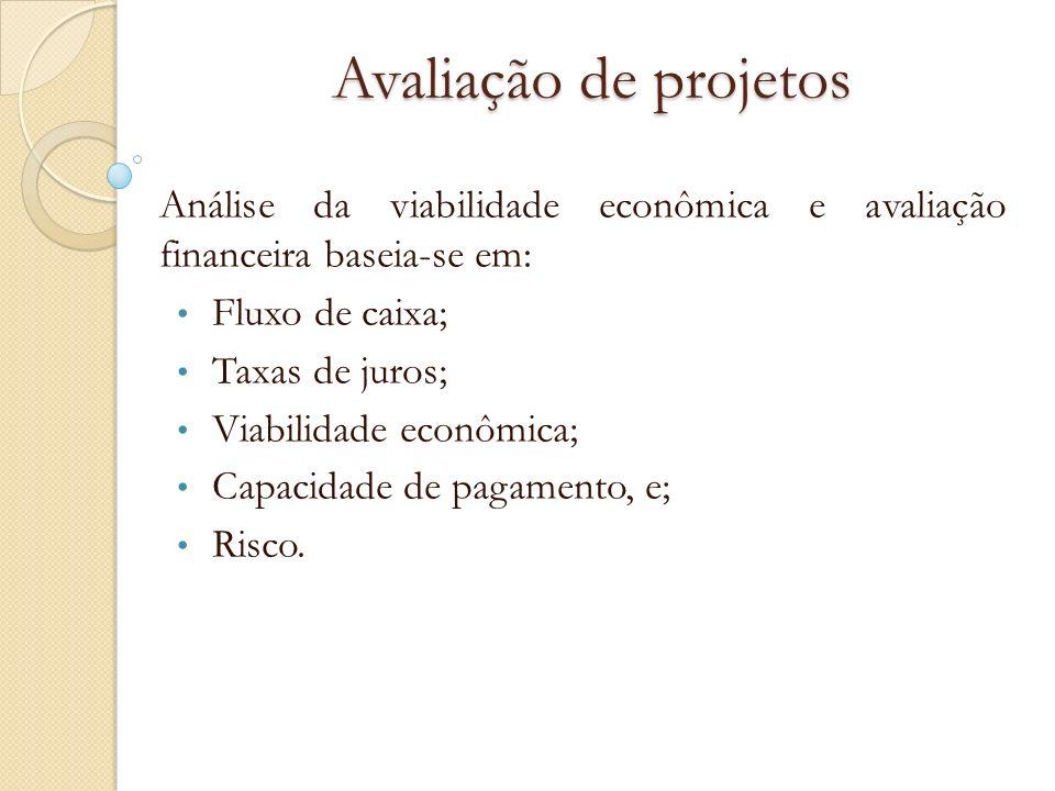 Avaliação de projetosAnálise da viabilidade econômica e avaliação financeira baseia-se em: Fluxo de caixa;