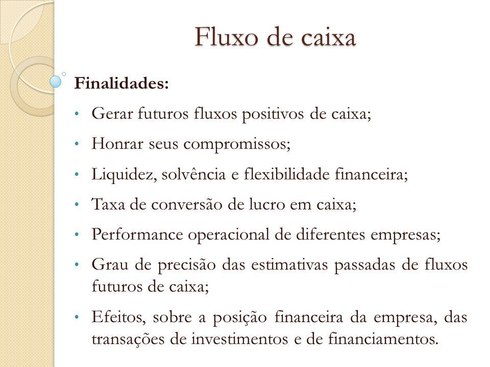 Fluxo de caixa Finalidades: Gerar futuros fluxos positivos de caixa;