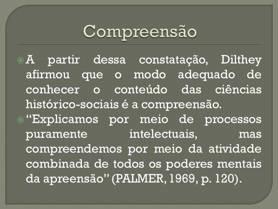 Compreensão A partir dessa constatação, Dilthey afirmou que o modo adequado de conhecer o conteúdo das ciências histórico-sociais é a compreensão.