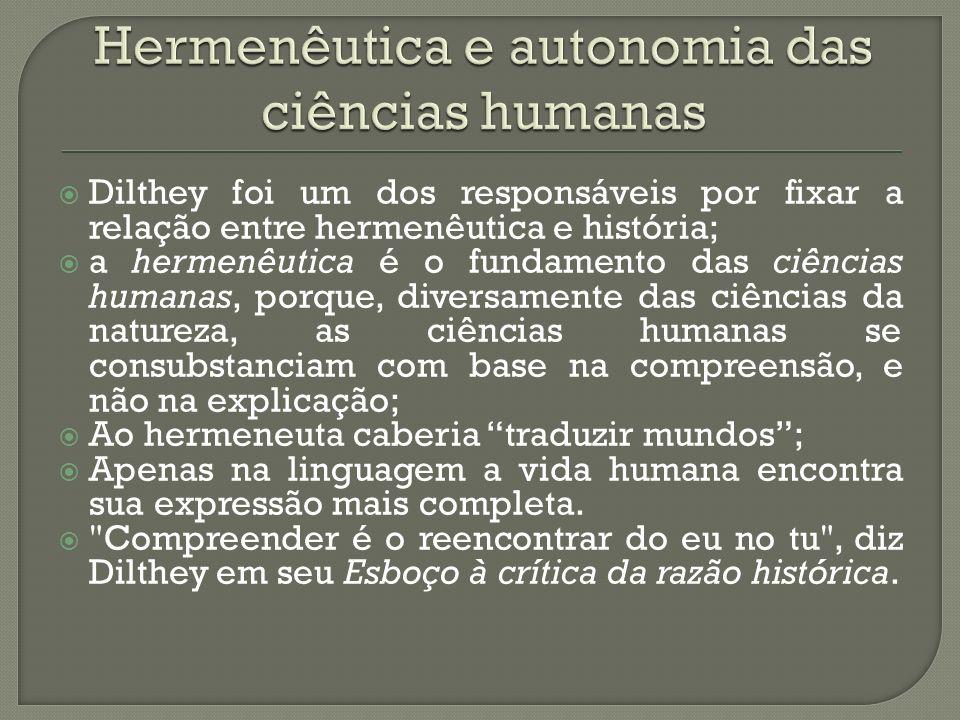 Hermenêutica e autonomia das ciências humanas