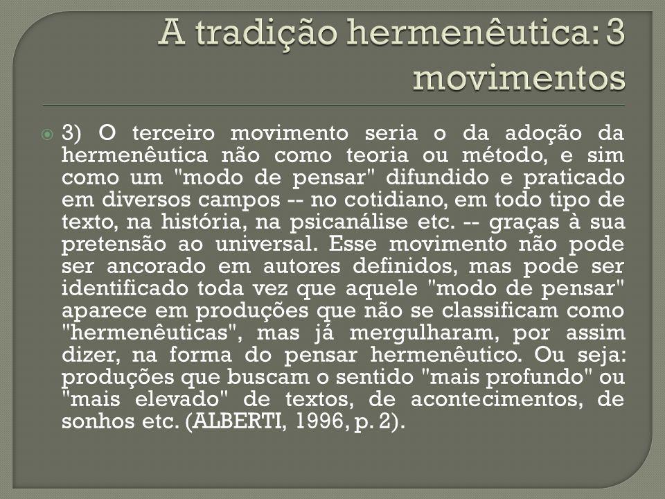 A tradição hermenêutica: 3 movimentos