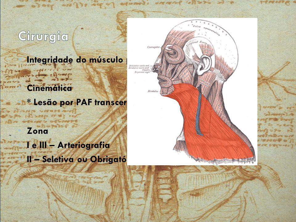 Cirurgia Integridade do músculo platisma Cinemática