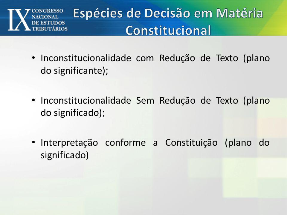 Espécies de Decisão em Matéria Constitucional