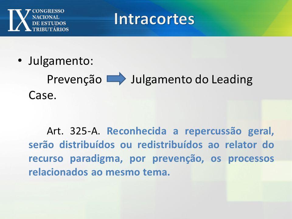 Intracortes Julgamento: Prevenção Julgamento do Leading Case.