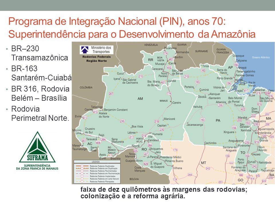 Programa de Integração Nacional (PIN), anos 70: Superintendência para o Desenvolvimento da Amazônia
