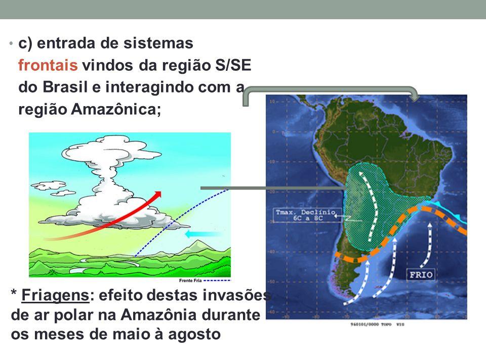 c) entrada de sistemas frontais vindos da região S/SE do Brasil e interagindo com a região Amazônica;