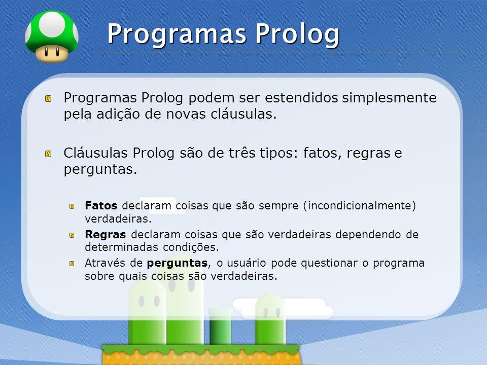 Programas Prolog Programas Prolog podem ser estendidos simplesmente pela adição de novas cláusulas.