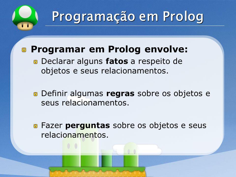 Programação em Prolog Programar em Prolog envolve: