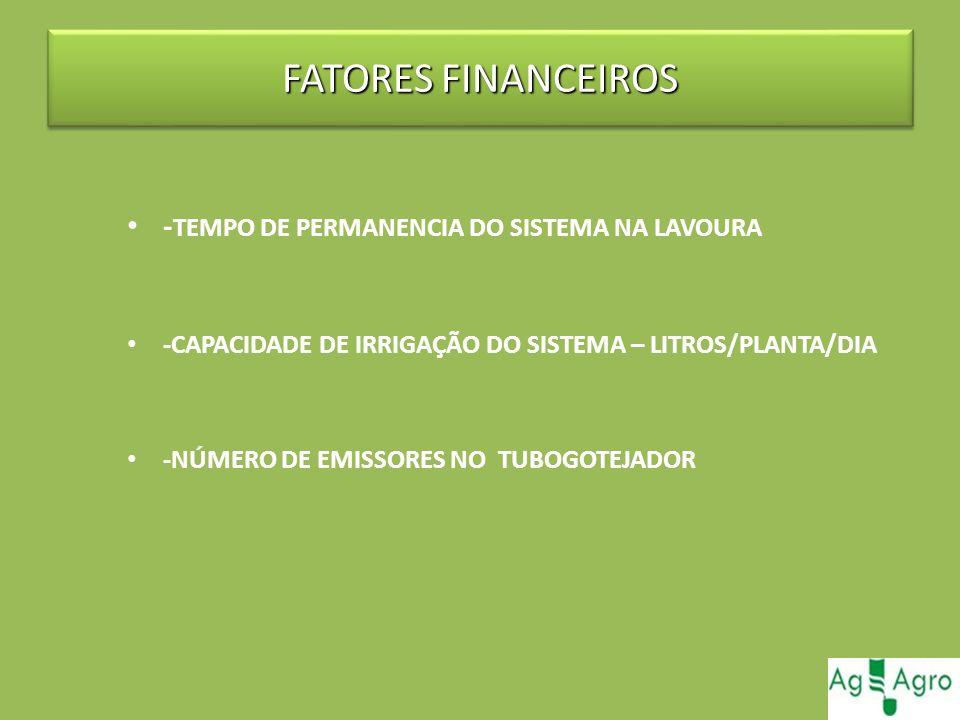 FATORES FINANCEIROS -TEMPO DE PERMANENCIA DO SISTEMA NA LAVOURA