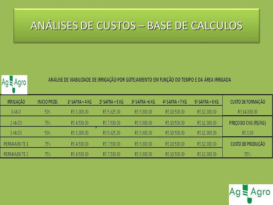 ANÁLISES DE CUSTOS – BASE DE CALCULOS