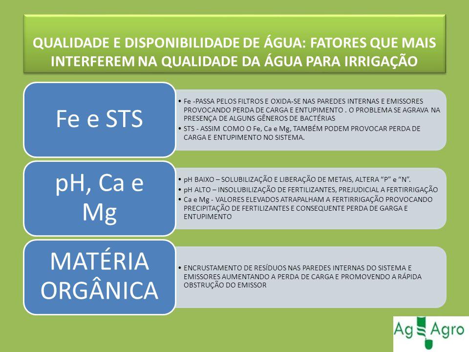 Fe e STS pH, Ca e Mg MATÉRIA ORGÂNICA