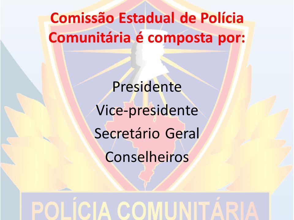 Comissão Estadual de Polícia Comunitária é composta por: