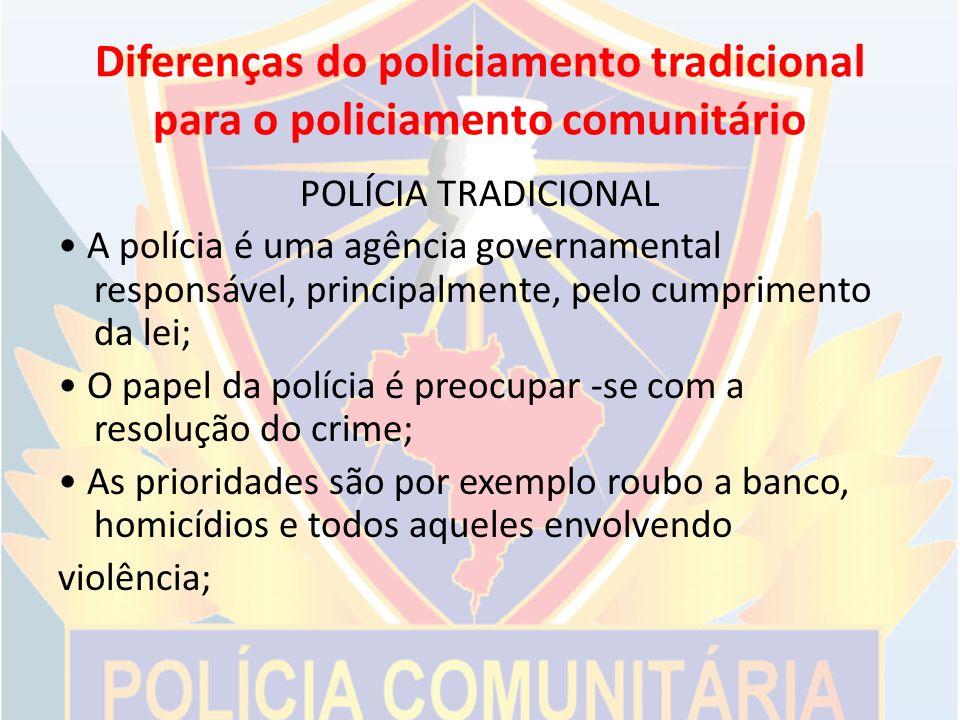 Diferenças do policiamento tradicional para o policiamento comunitário