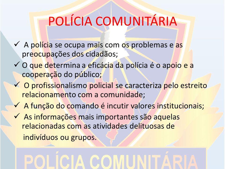POLÍCIA COMUNITÁRIA A polícia se ocupa mais com os problemas e as preocupações dos cidadãos;