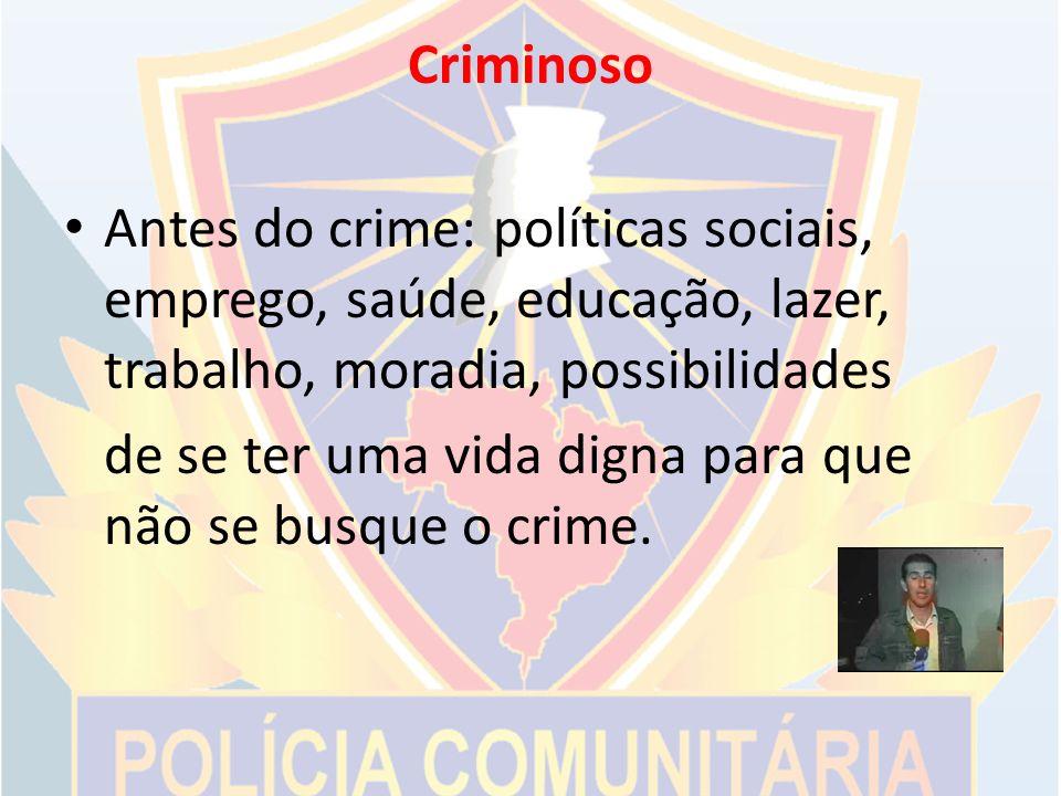 Criminoso Antes do crime: políticas sociais, emprego, saúde, educação, lazer, trabalho, moradia, possibilidades.