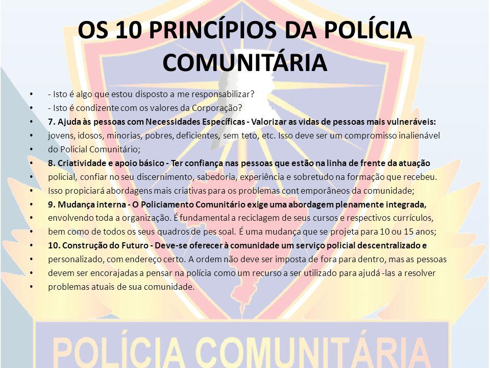 OS 10 PRINCÍPIOS DA POLÍCIA COMUNITÁRIA
