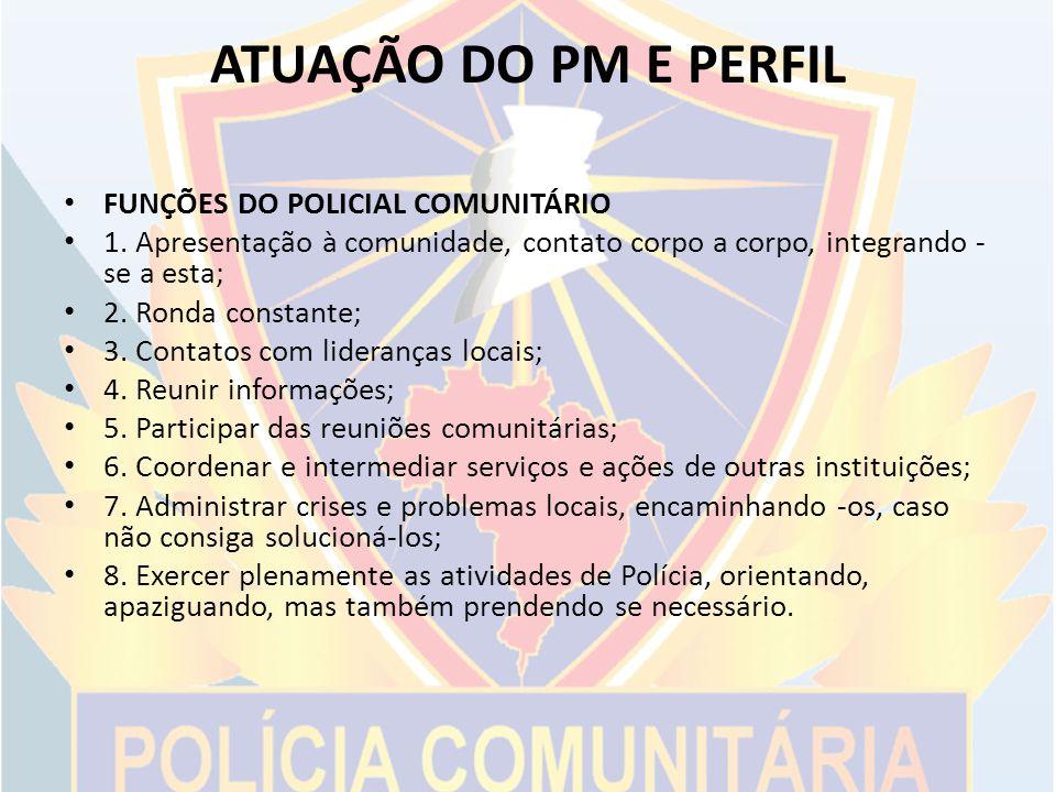ATUAÇÃO DO PM E PERFIL FUNÇÕES DO POLICIAL COMUNITÁRIO