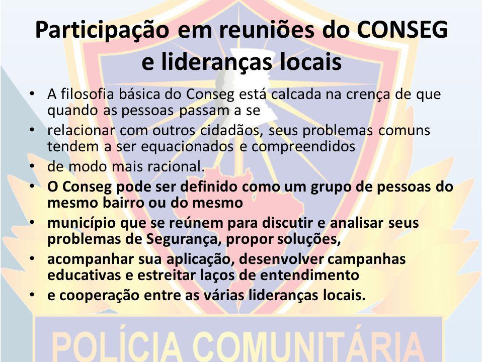 Participação em reuniões do CONSEG e lideranças locais